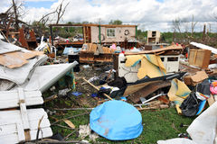 Destruction After Tornadoes Hit Saint Louis. SAINT LOUIS, MO – APRIL 22: Destruction left behind by tornadoes that ravaged the area. April 22, 2011 in Saint Royalty Free Stock Photography