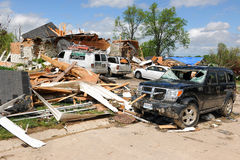 Destruction After Tornadoes Hit Saint Louis. SAINT LOUIS, MO – APRIL 22: Destroyed homes left behind by tornadoes that ravaged the area. April 22, 2011 in Stock Image