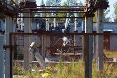The destruction at the transformer substation Stock Photos