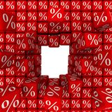 Destruction of a wall of cubes with the symbols of percent royalty free illustration