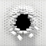 Destruction of a white brick wall. Black hole in the white brick wall Stock Images