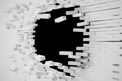 Destruction of a white brick wall for pasting anything text. 3d illustration Stock Images