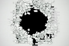 Destruction of a white brick wall for pasting anything text. 3d illustration Royalty Free Stock Photos