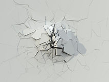 Destruction Of The White Concrete Wall. 3D Illustration royalty free illustration