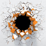 Destruction of a white wall. Black hole in the white brick wall Stock Photos