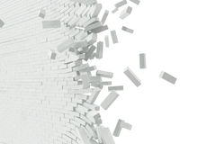 Destruction of a white wall with blank text. 3d illustration Royalty Free Stock Images
