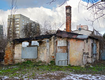 Destruction, wrack house and new building Royalty Free Stock Photo