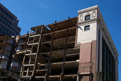 Destruction zone. Old building being demolished in downtown boston massachusetts Stock Image