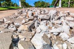 Destructive road. Waiting for repairing Royalty Free Stock Image