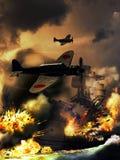 Destructor under attack stock illustration