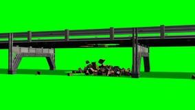 Destruição da estrada da ponte - tela verde ilustração stock