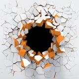 Destruição de uma parede branca Fotos de Stock