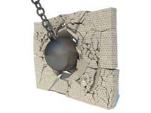 Destruição de uma parede de tijolo ilustração royalty free