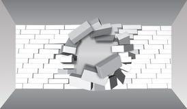 Destruição de uma parede de tijolo 3D que quebra a parede de tijolo Parede que é despedaçada ou que quebra distante Fundo abstrat ilustração royalty free