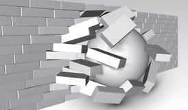 Destruição de uma parede de tijolo 3D que quebra a parede de tijolo Parede que é despedaçada ou que quebra distante Fundo abstrat ilustração do vetor