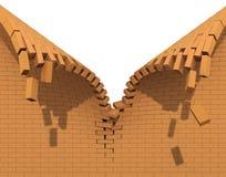 Destruição de uma parede de tijolo vermelho Imagens de Stock