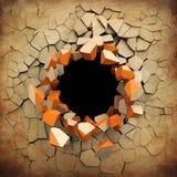 Destruição de uma parede velha do grunge Imagem de Stock