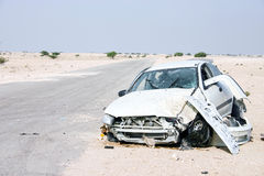 Destruição do carro do deserto Fotos de Stock Royalty Free