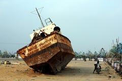 Destruição em Kanyakumari, India do navio Fotos de Stock
