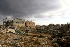 Destruição em Shejayia, cidade de Gaza, Faixa de Gaza Fotografia de Stock