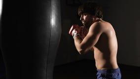 destruição O atleta muscular novo cumpre o pontapé boxing vídeos de arquivo