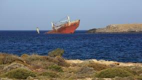 Destruição quebrada abandonada do navio Fotografia de Stock