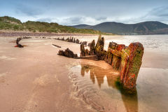 Destruição do navio do Sunbeam na praia irlandesa Imagens de Stock