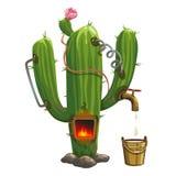 Destylator wśrodku kaktusa Bezprawny handel tequila ilustracja wektor