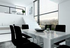 Desván blanco con la escalera y la mesa de comedor stock de ilustración