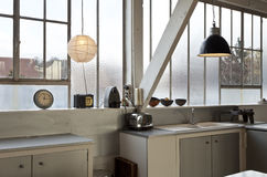 Desván interior, cocina Foto de archivo libre de regalías