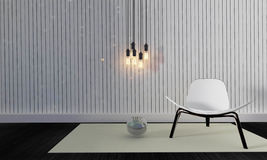 Desván y sala de estar simple con la silla y pared background-3d con referencia a Imagen de archivo libre de regalías