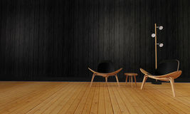 Desván y sala de estar simple con la silla y pared background-3d con referencia a Imagen de archivo libre de regalías