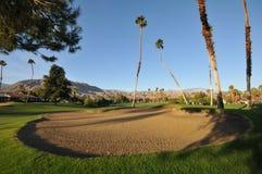 Desvío de arena del golf con las palmeras en espacio abierto Foto de archivo