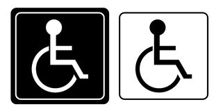 Desvantagem ou símbolo da pessoa da cadeira de rodas Imagens de Stock