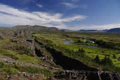 Desviación de las placas tectónicas en Pingvellir Islandia Fotografía de archivo libre de regalías