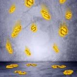 Deszcz dolarowy znak Fotografia Royalty Free