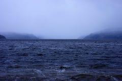 Deszcz i mgła na Saguenay Fjord zdjęcia royalty free