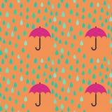 Deszcz krople i parasolowy bezszwowy deseniowy tło; editable co Zdjęcia Royalty Free