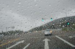 Deszcz krople na przedniej szybie Obrazy Royalty Free