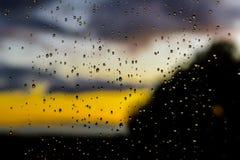 Deszcz krople na szklanym panelu Fotografia Royalty Free