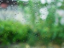 Deszcz krople na szkle zielonego tło obraz stock