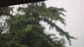 Deszcz krople spada od dachowego ` s eave podczas podeszczowej burzy w Koh Samui Tajlandia 1920x1080 zbiory