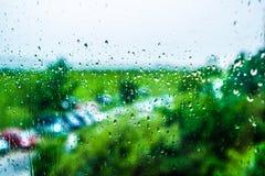 Deszcz na okno Obrazy Royalty Free
