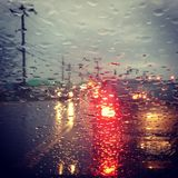 Deszcz na przedniej szybie Obraz Stock