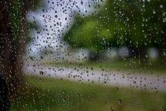 Deszcz opuszcza na samochodowym okno z światłem słonecznym, mokry szkło, deszczowy dzień fotografia royalty free