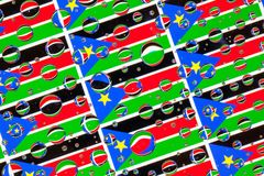 Deszcz opuszcza pełno Południowe Sudan flaga zdjęcia stock