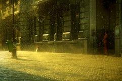 deszcz w bukareszcie, zachód słońca Zdjęcia Royalty Free