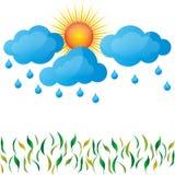 Deszcz, wiosna, słońce, chmury, trawa ilustracji