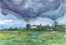 Deszczowy dzień w Comarovo wiosce ilustracja wektor