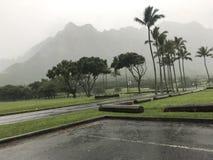 Deszczowy dzień w Kualoa obraz stock